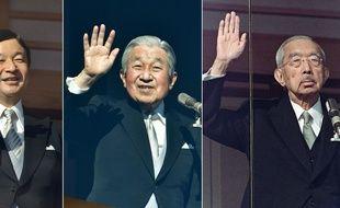 Le prince et futur empereur Naruhito (2011), son père l'empereur Akihito (2019) et son grand-père Hirohito (1986).
