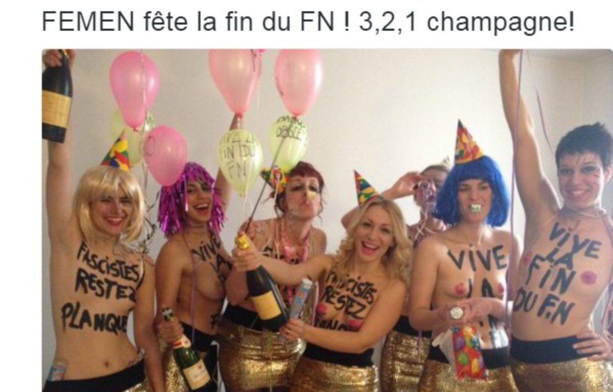 Les Femen se sont invitées au banquet républicain du FN ce dimanche 1er mai 2016, à Paris. – FEMEN