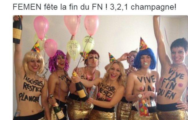 Les Femen se sont invitées au banquet républicain du FN ce dimanche 1er mai 2016, à Paris.