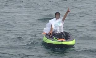Un migrant a tenté la traversée du détroit du Pas de Calais, en kayak, le 10 septembre 2019.