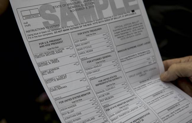 Un bulletin de vote à remplir à Kansas City, dans le Missouri, le 8 novembre 2016.