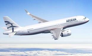 Un A320neo aux couleurs de la compagnie grecque Aegan Airlines.