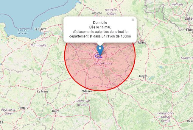 Il suffit d'entrer son adresse puis cliquer sur le point bleu pour avoir les100 km autour de chez soi.