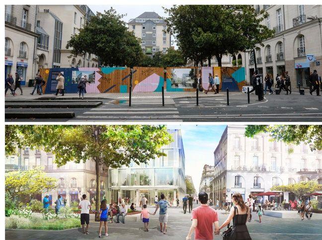 Avant/après, vers l'ex square Fleuriot-de-Langle