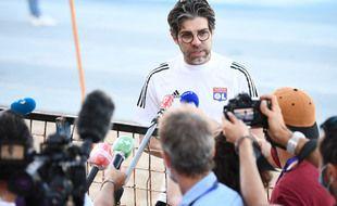 Juninho face aux médias, ici en août 2020 lors du Final 8 de la Ligue des champions à Lisbonne. FRANCK FIFE