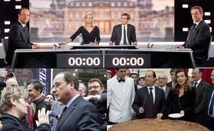 Montage photo: François Hollande face à Nicolas Sarkozy lors de son débat, face à une Française lors d'un déplacement et aux côtés de Valérie Trieirweiler lors de leur dernière sortie officielle en décembre 2013.