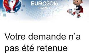 Capture d'écran du message reçu par les demandeurs de billets pour l'Euro 2016 qui n'en ont pas eu au tirage au sort.