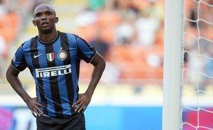 L'attaquant de l'Inter Milan, Samuel Eto'o, lors d'un match de Serie A contre Bari, le 23 août 2009.