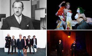 Photomontage de Piet Mondrian, «Un tramway nommé désir» joué pour la première fois à la Comédie-Française, le groupe «The Serge Gainsbourg Experience» et les policiers de «Pluie d'Enfer» (de gauche à droite et de haut en bas)