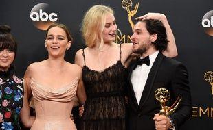 Les acteurs de « Game of Thrones » Maisie Williams, Emilia Clarke, Sophie Turner et Kit Harington.