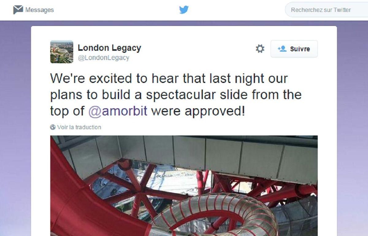 Le toboggan doit mesurer 180 mètres de long et offrir 40 secondes de descente... vertigineuse ! – London Legacy sur Twitter