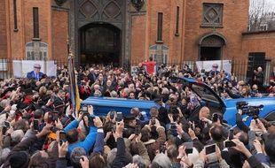 Les funérailles de Michou à l'église Saint-Jean de Montmartre à Paris le 31 janvier 2020.