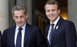 Nicolas Sarkozy et Emmanuel Macron à l'Elysée, le 15 septembre 2017.