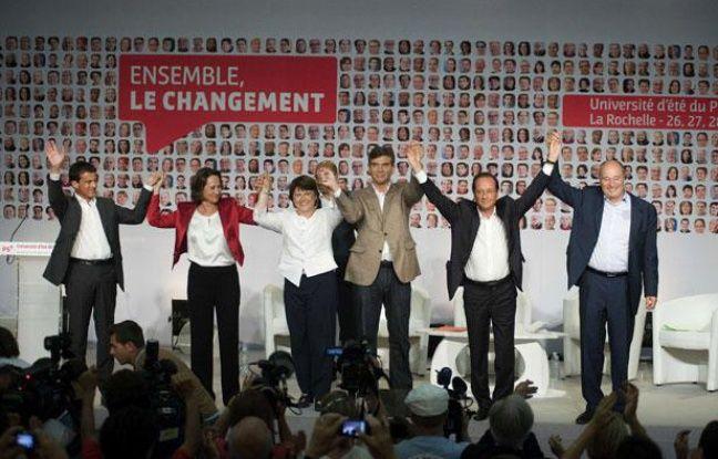 Les 6 candidats aux primaires socialistes, à La Rochelle en août 2011.