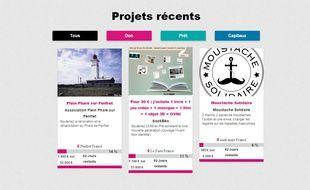 Lancée il y a dix jours, la plateforme héberge pour l'heure trois projets.