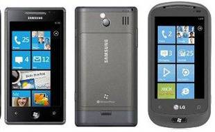 Les téléphones sous Windows Phone 7 disponibles le 21 octobre 2010 en France: HTC 7 Trophy, HTC 7 Mozart, Samsung Omnia 7 et LG Optimus 7