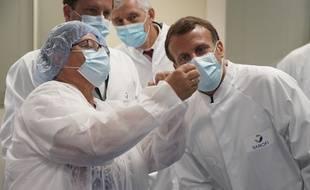 Le laboratoire Sanofi Pasteur lors d'une visite d'Emmaunuel Macron, le 16 juin 2020.