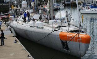 La goélette Tara amarrée au port de Lorient, le 28 mai 2016