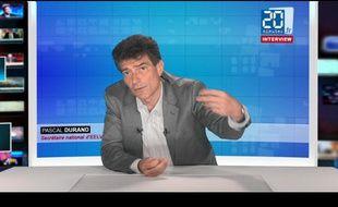 PascalDurand, le secrétaire national d'Europe Ecologie - Les Verts, le 27 juin 2012 dans les studios de «20 Minutes»