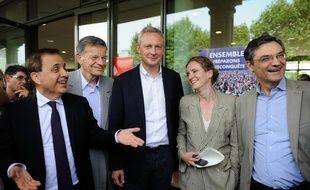 Roger Karoutchi, François Kosciusko Morizet, Bruno Le Maire, Nathalie Kosciusko-Morizet et Patrck Devdjian à Puteaux, le 1er septembre 2013.