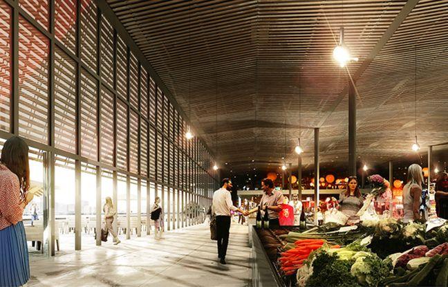 Image de synthèse du projet de halle de producteurs sur l'ilôt de la fourrière, aux Bassins à Flot à Bordeaux