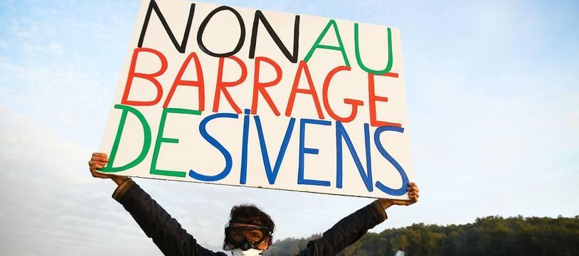 Lors d'une manifestation contre le barrage de Sivens, dans le Tarn.