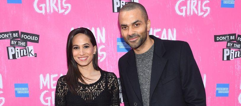 Tony Parker et son épouse Axelle, le 8 avril 2018 lors d'une avant-première à New York.