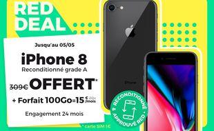 Profitez de l'offre iPhone 8 reconditionné offert avec le forfait 100 Go par RED by SFR