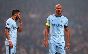 Les joueurs de Manchester City Gaël Clichy (à gauche) et Vincent Kompany, le 5 novembre 2014