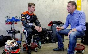 (FILES) A file picture taken on July 6, 2014, shows Dutch racing driver Max Verstappen (L), speaking with his father and former F1 driver Jos Verstappen prior to the Zandvoort Masters of Formula 3 in Zandvoort, The Netherlands. Sixteen-year-old Max Verstappen will become the youngest driver in Formula One history next season after being unveiled as Toro Rosso's new signing. AFP PHOTO / ANP / SANDER KONING **netherlands out**