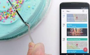 L'application Calendar, de Google, sur Android Lollipop.