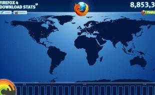 Le compteur des téléchargements de Firefox 4, le 23 mars 2011.