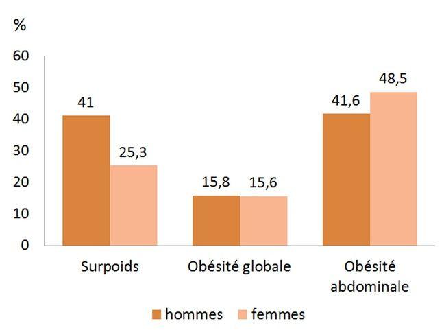La prévalence du surpoids et de l'obésité en France.