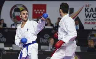Steven Da Costa (de face) lors des championnats du monde de karaté en octobre 2018 à Madrid.