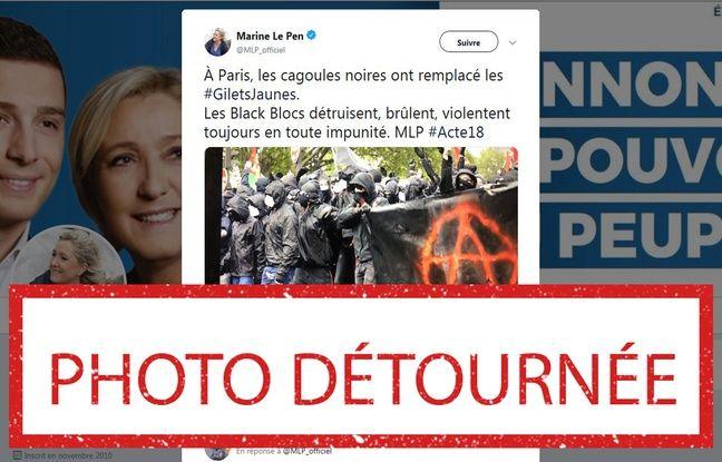 VIDEO. Acte 18 des «gilets jaunes»: La photo des «black blocs» diffusée par Marine Le Pen a été prise en mai 2018