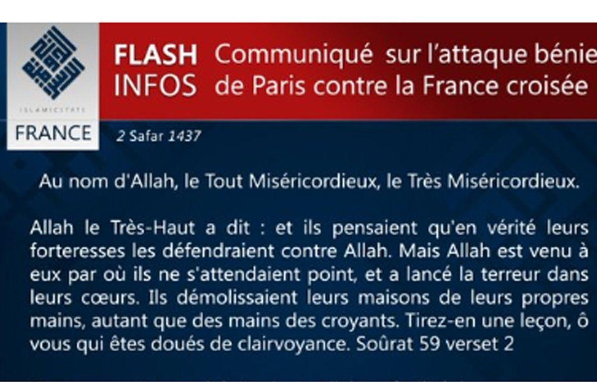Le communiqué de revendication des attentats de Paris par Daesh, le 14 novembre 2015 – 20Minutes