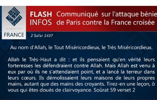 Le communiqué de revendication des attentats de Paris par Daesh, le 14 novembre 2015