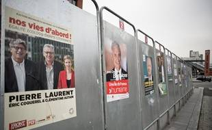 General views about posters, atmosphere and illustrations to vote for the first round of regional elections, in France in a polling station in Evry, France, December 6, 2015. Photo by Nicolas Messyasz / Sipa Press/NICOLASMESSYASZ_2015_12_06a_007a/Credit:NICOLAS MESSYASZ/SIPA/1512061336