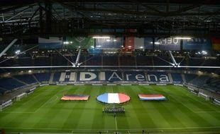 Répétition de la cérémonie des hymnes quelques heures avant Allemagne - Pays-Bas à Hanovre le 17 novembre 2015, finalement annulé pour raisons de sécurité
