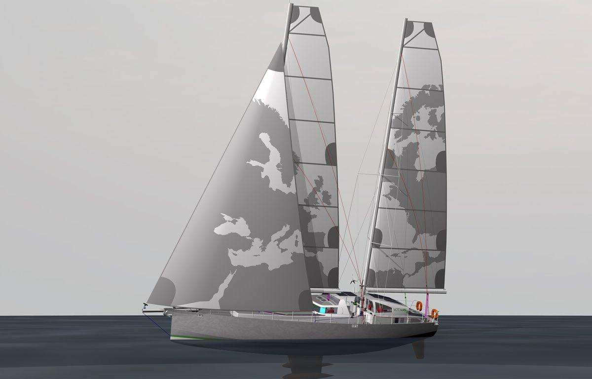 Vue du cargo à voile Votaan 72 imaginé par la société Grain de Sail. – DR
