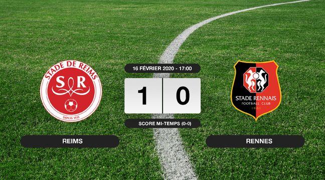 1-0 pour le Stade de Reims contre le Stade Rennais au stade Auguste-Delaune