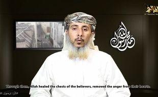 Capture d'écran de l'un des dirigeants d'Aqpa, Nasser Ben Ali-al-Anassi, qui revendique les attaques terroristes de Paris.
