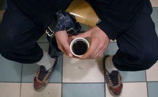 Illustration d'un SDF qui boit un café