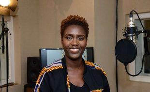 Rokhaya Diallo, le 14 février 2017 à Paris, lors de l'enregistrement du clip et single de l'association