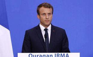 Emmanuel Macron a donné une conférence de presse sur l'ouragan Irma, mercredi 6 septembre 2017.
