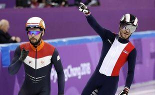 Thibaut Fauconnet sur le short track lors des JO de Pyeongchang, le 10 février 2018.