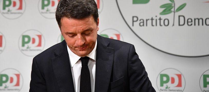 Matteo Renzi, chef du Parti démocrate, lors de l'annonce de sa démission le 5 mars 2018.
