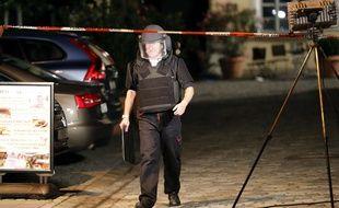 Un officier des forces spéciales allemandes à Ansbach où un Syrien s'est fait exploser le 25 juillet 2016.