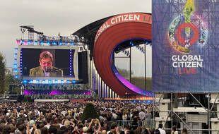 Elton John lors de la partie francaise du Global Citizen Live au Champ de Mars a Paris.