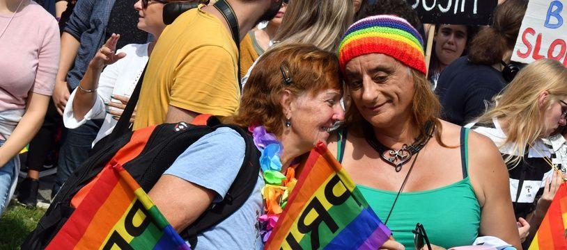 Lors de la première Gay pride de Sarajevo,le _ septembre 2019.ELVIS BARUKCIC / AFP.